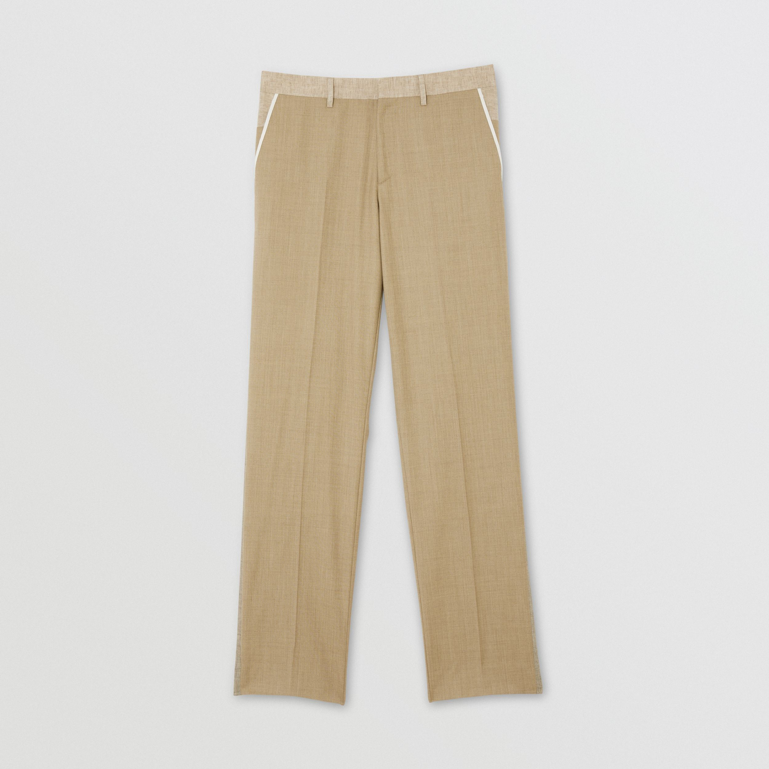 English Fit Wool Cashmere and Linen Tailored Trousers in Pecan Melange - Men | Burberry - 4
