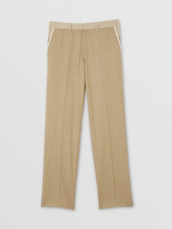 English Fit Wool Cashmere and Linen Tailored Trousers in Pecan Melange
