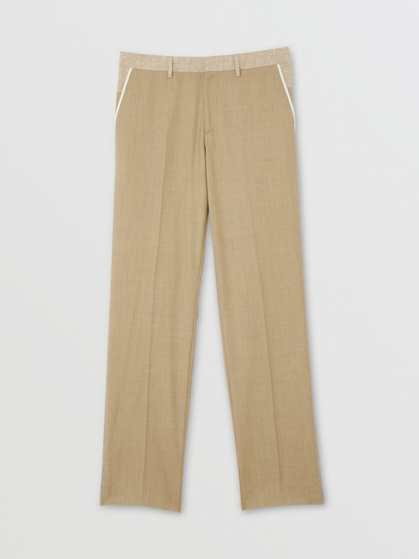English Fit Wool Cashmere and Linen Tailored Trousers in Pecan Melange | Burberry - cell image 3
