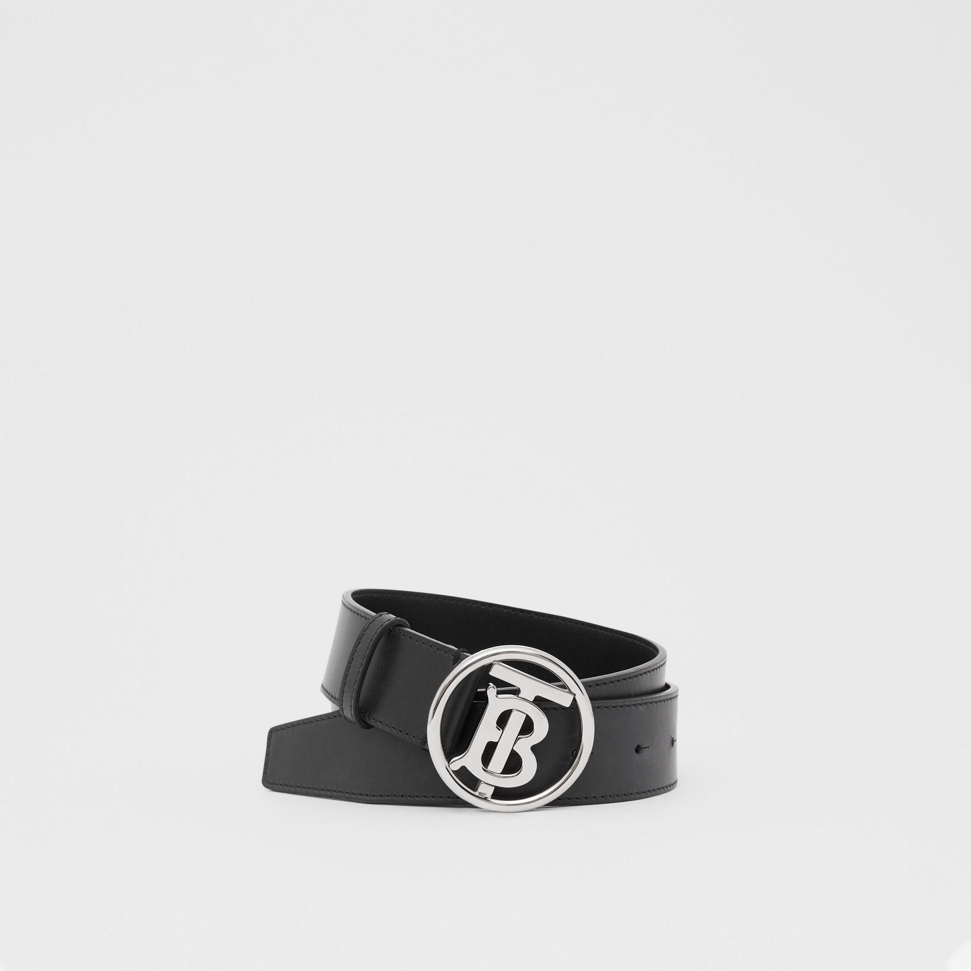 Monogram Motif Leather Belt in Black - Men | Burberry - gallery image 0