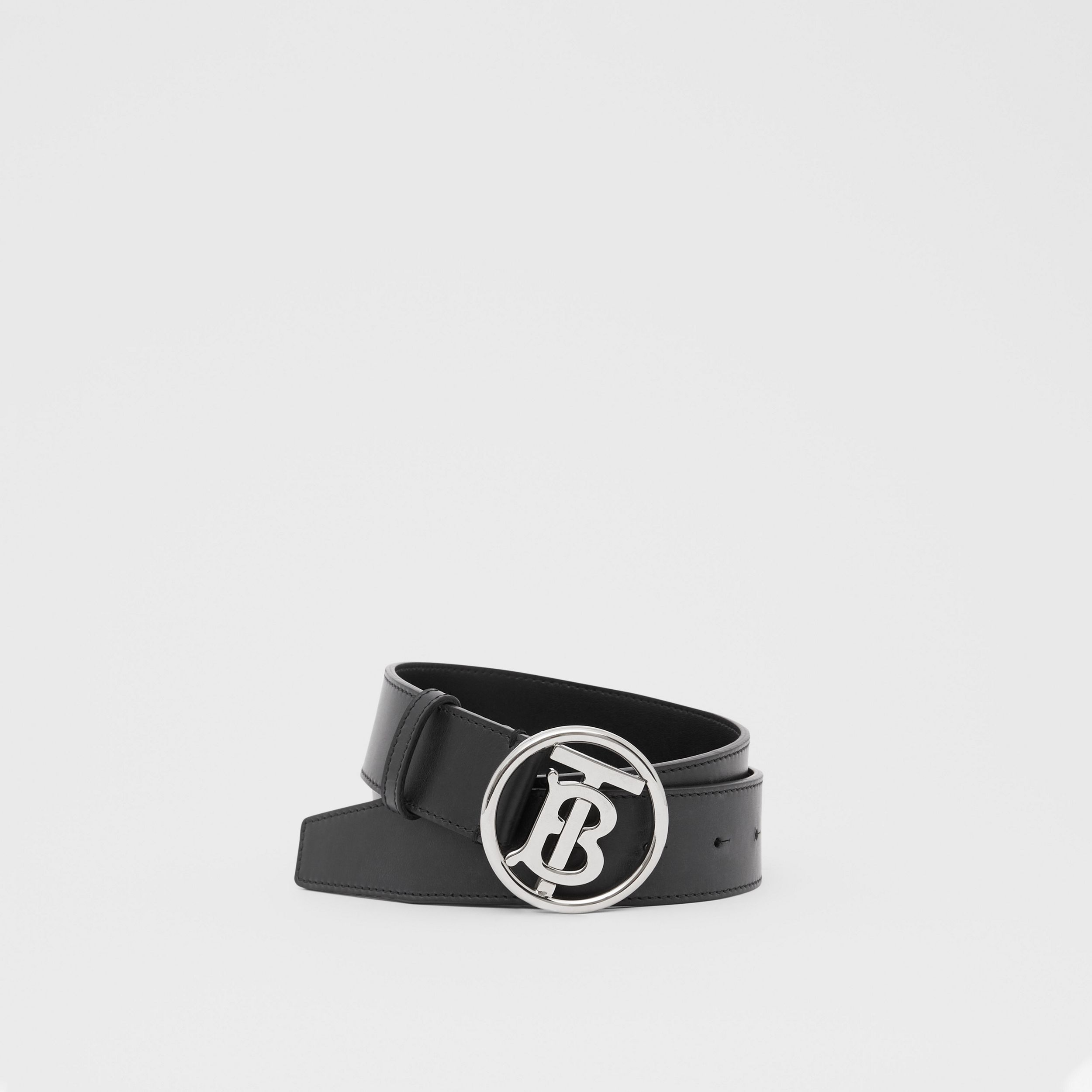 Monogram Motif Leather Belt in Black - Men | Burberry - 1