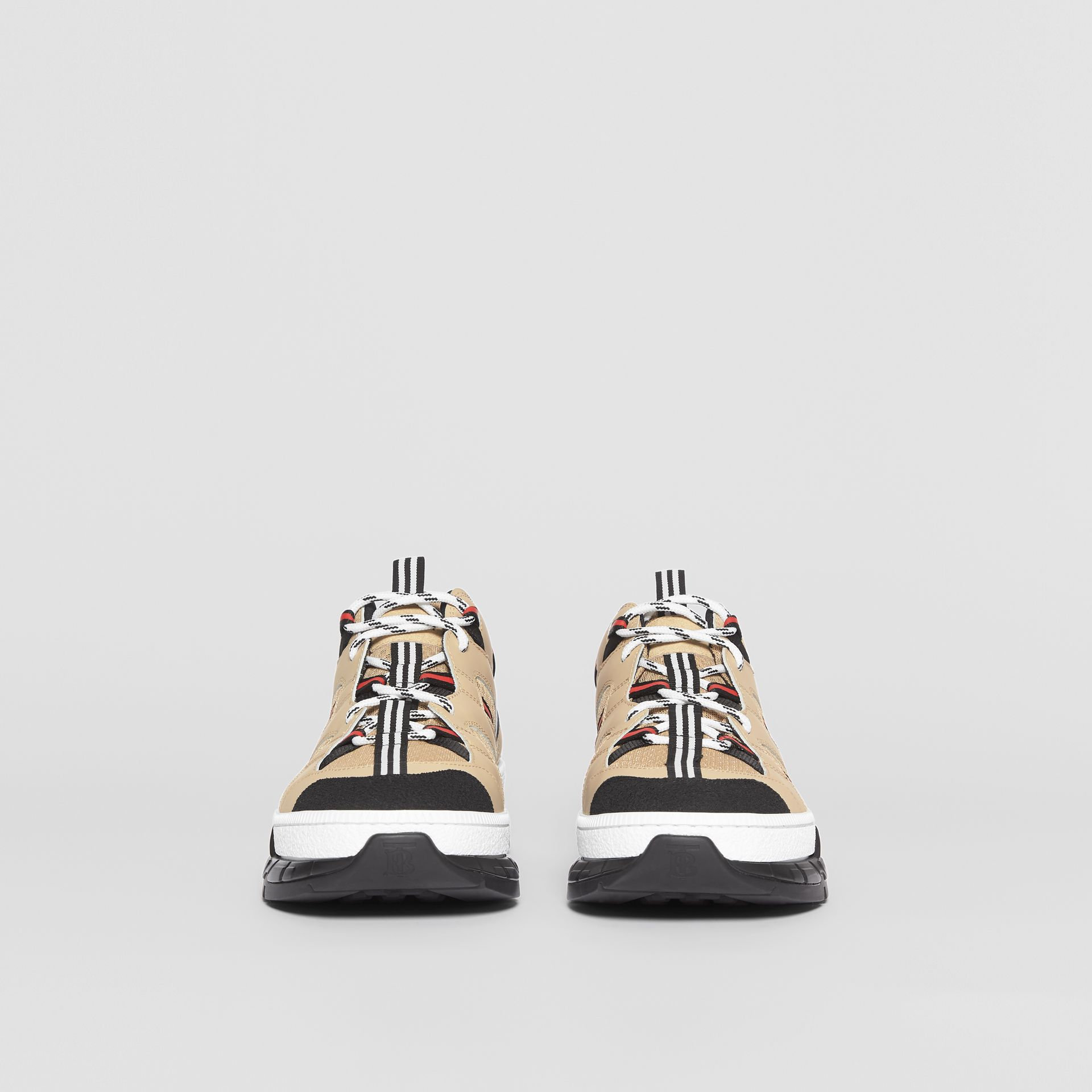 Mesh and Leather Union Sneakers in Beige - Men | Burberry Canada - gallery image 3