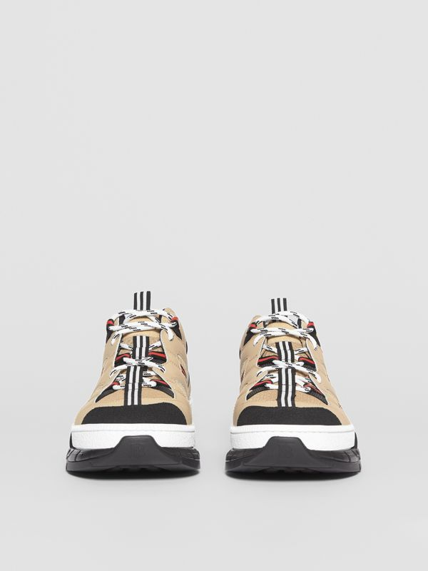 Mesh and Leather Union Sneakers in Beige - Men | Burberry - cell image 3