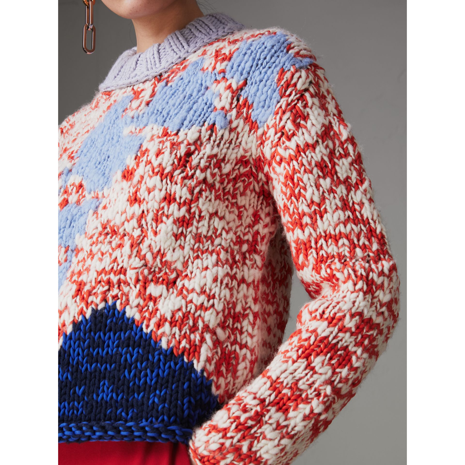 Chunky Knit Wool Blend Sweater in Bright Red - Women | Burberry - gallery image 4