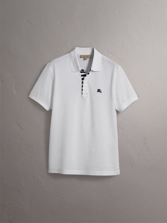 Striped Placket Cotton Piqué Polo Shirt in White - Men | Burberry - cell image 3