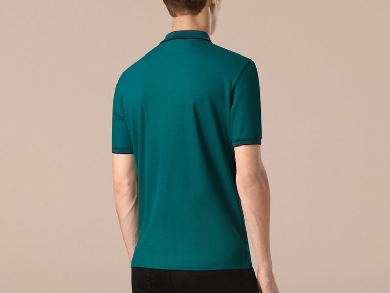 Dark teal/navy Contrast Tipping Cotton Piqué Polo Shirt Dark Teal/navy - cell image 1