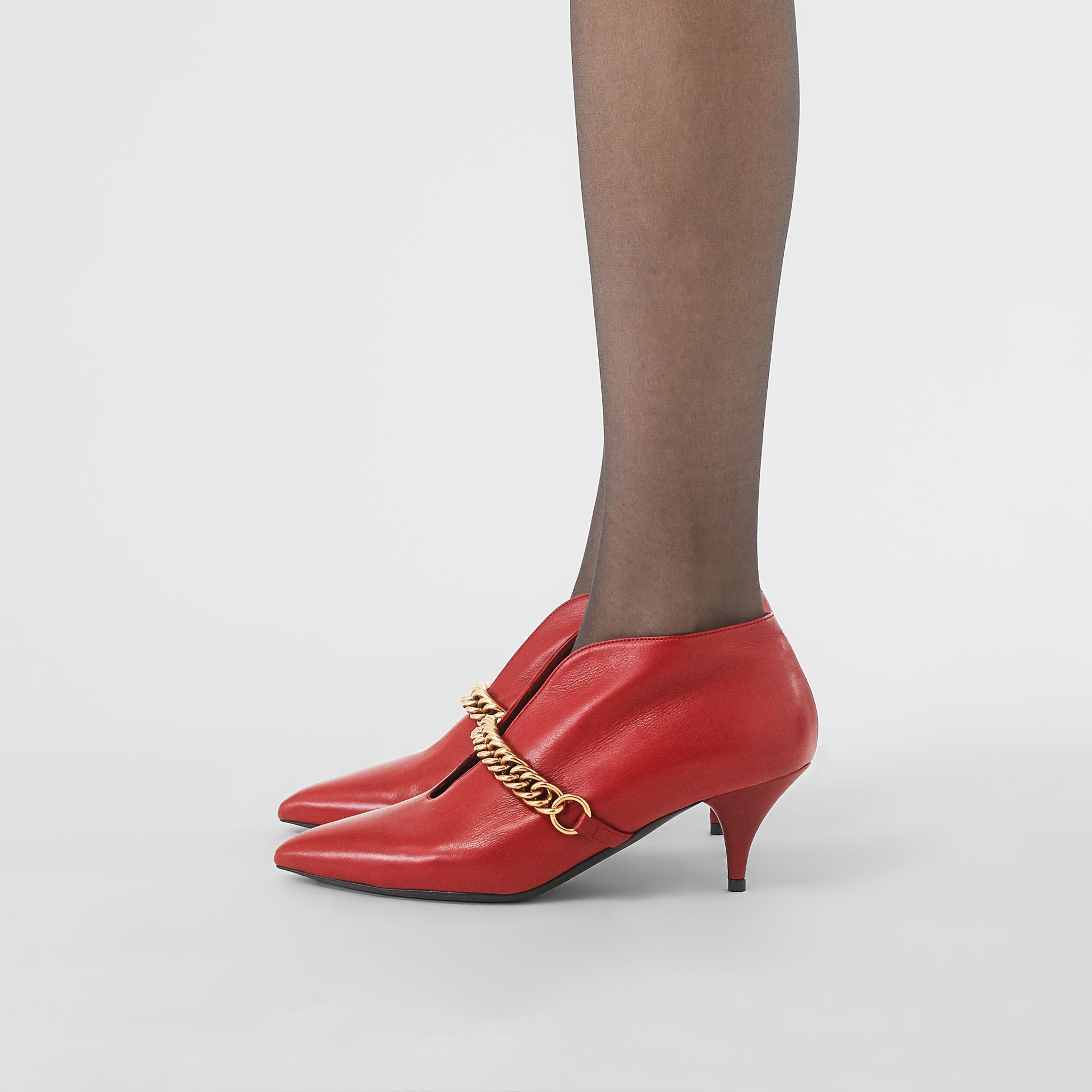 Link Detail Leather Ankle Boots in Claret - Women | Burberry - gallery image 2