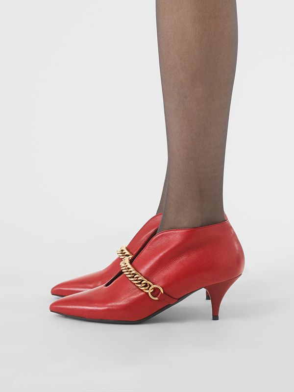 Link Detail Leather Ankle Boots in Claret - Women | Burberry Hong Kong - cell image 2