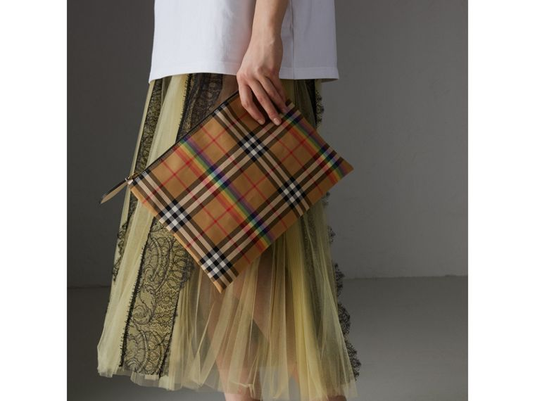 Medium Rainbow Vintage Check Pouch in Natural | Burberry United States - cell image 4