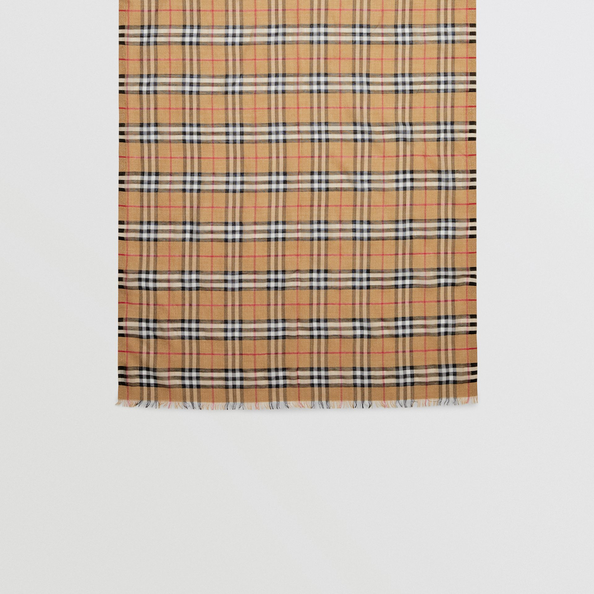 Metallic Vintage Check Wool Silk Blend Scarf in Antique Yellow - Women | Burberry United Kingdom - gallery image 3