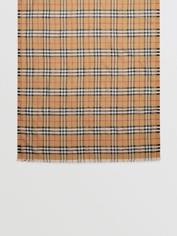Metallic Vintage Check Wool Silk Blend Scarf in Antique Yellow - Women | Burberry United Kingdom - cell image 3