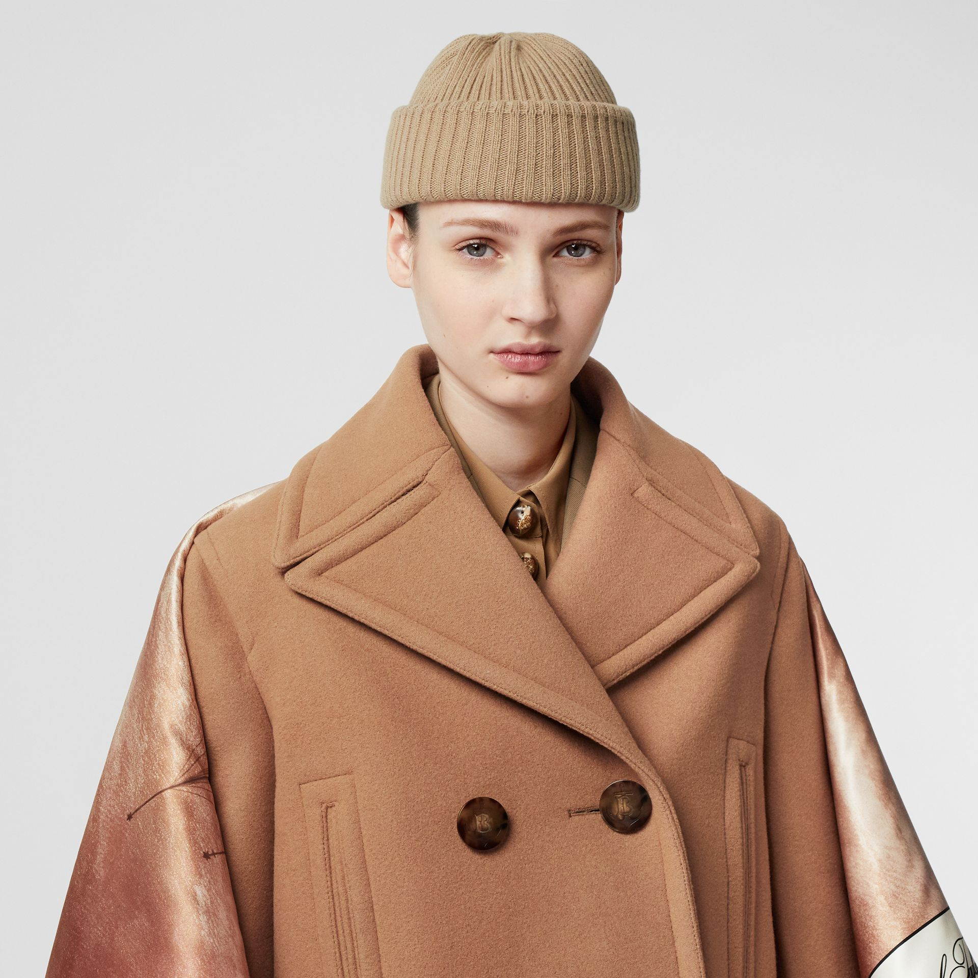 Mariner Print Blanket Detail Technical Wool Pea Coat in Warm Camel - Women | Burberry - gallery image 7
