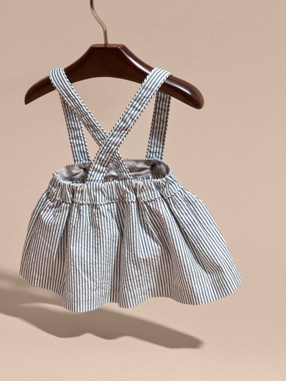 Striped Cotton Blend Pinafore Skirt in Indigo | Burberry - cell image 3