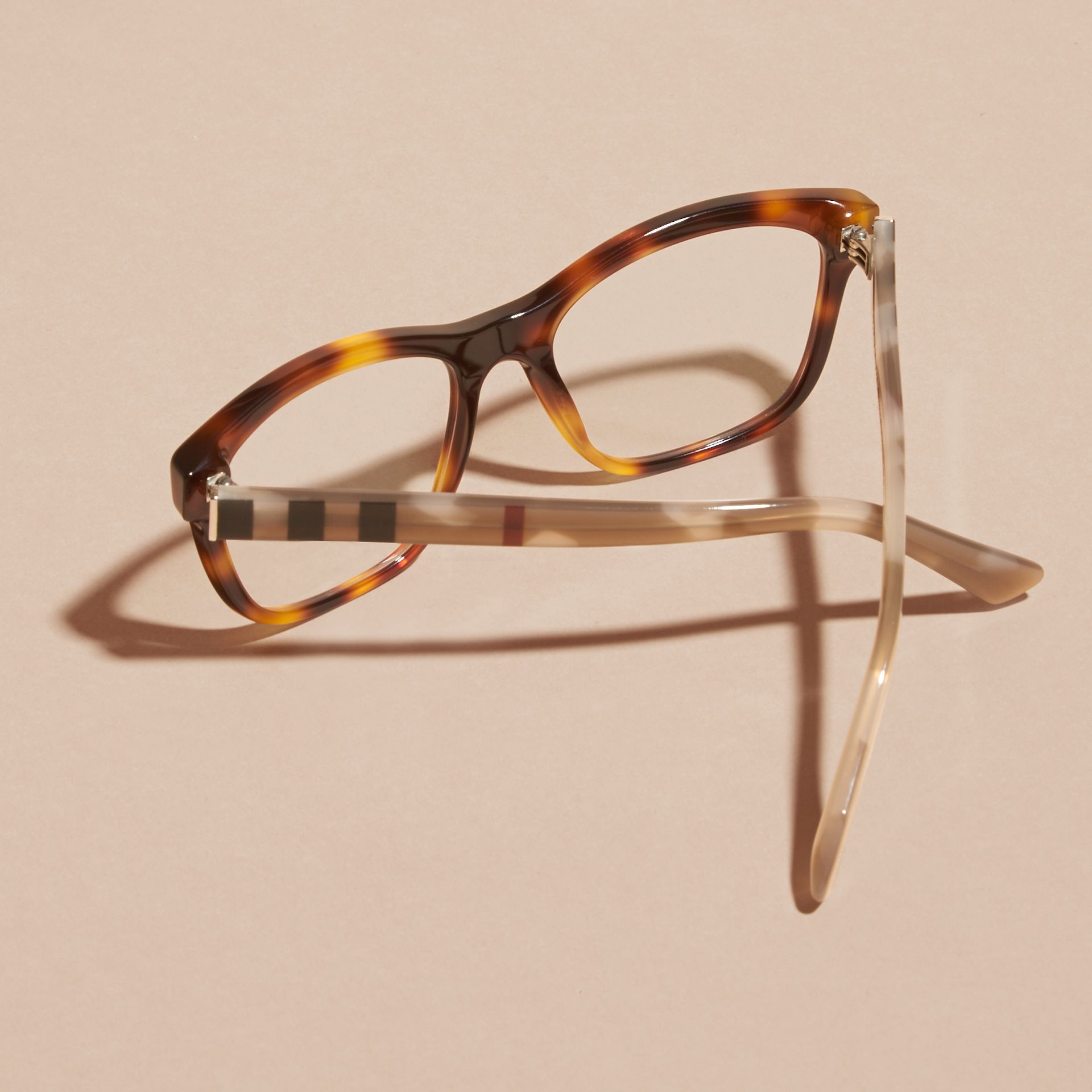 Light russet brown Check Detail Square Optical Frames Light Russet Brown - gallery image 5