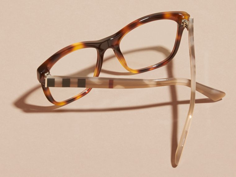 Check Detail Square Optical Frames Light Russet Brown - cell image 4