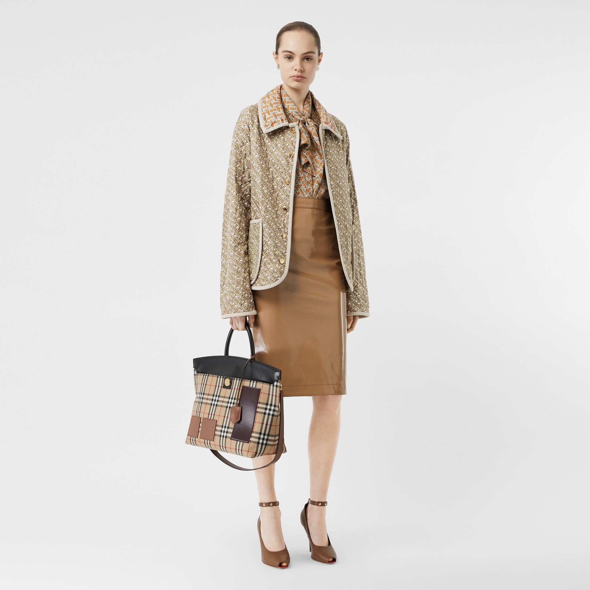 Monogram Print Quilted Silk Jacket in Archive Beige - Women | Burberry - gallery image 6