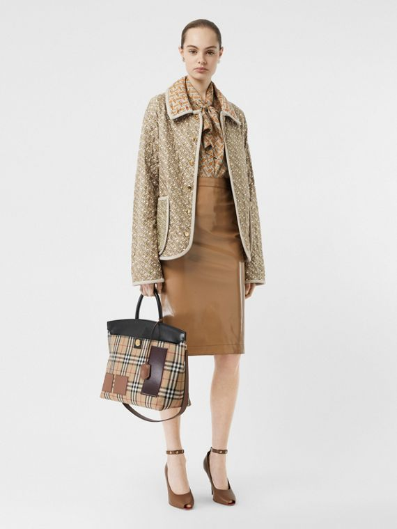 Monogram Print Quilted Silk Jacket in Archive Beige
