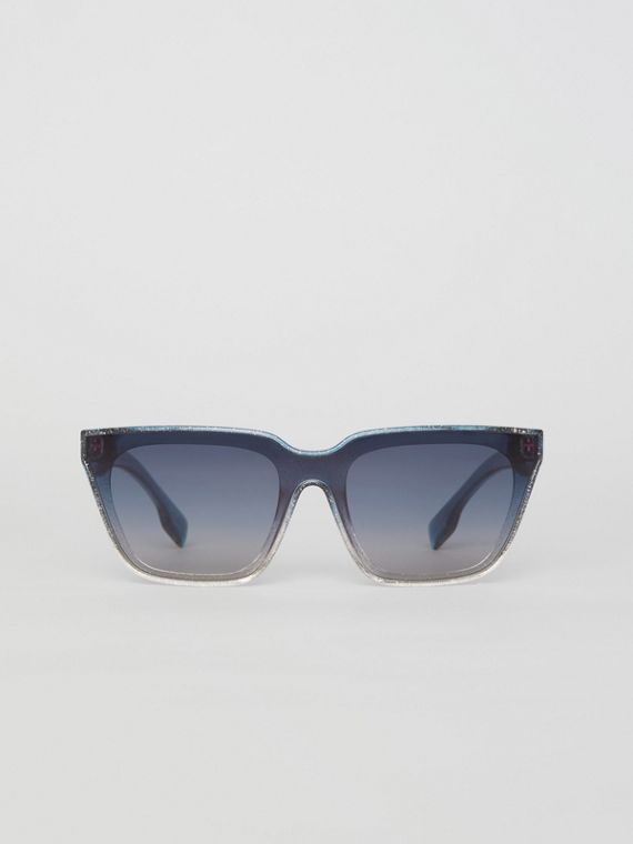 Glitter Detail Square Frame Shield Sunglasses in Blue