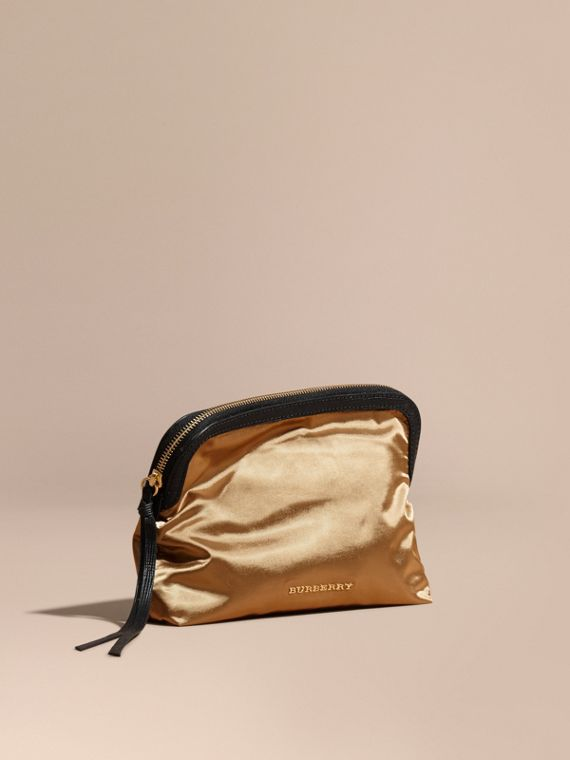 Large Zip-top Leather-trimmed Technical Nylon Pouch