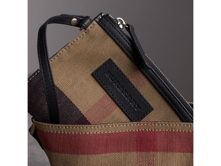 The Ashby piccola con pelle e motivo Canvas check (Nero) - Donna | Burberry - cell image 4