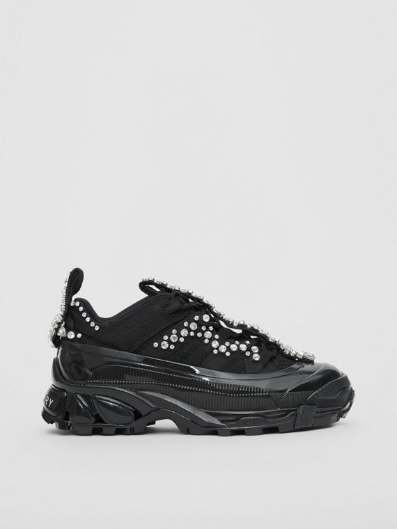 Crystal Detail Suede and Mesh Arthur Sneakers in Black/crystal