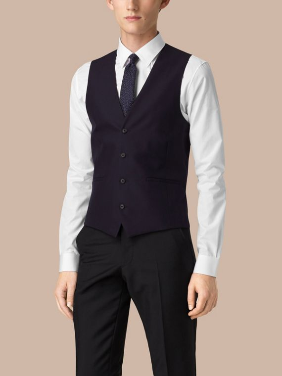 Navy Slim Fit Wool Waistcoat - cell image 3