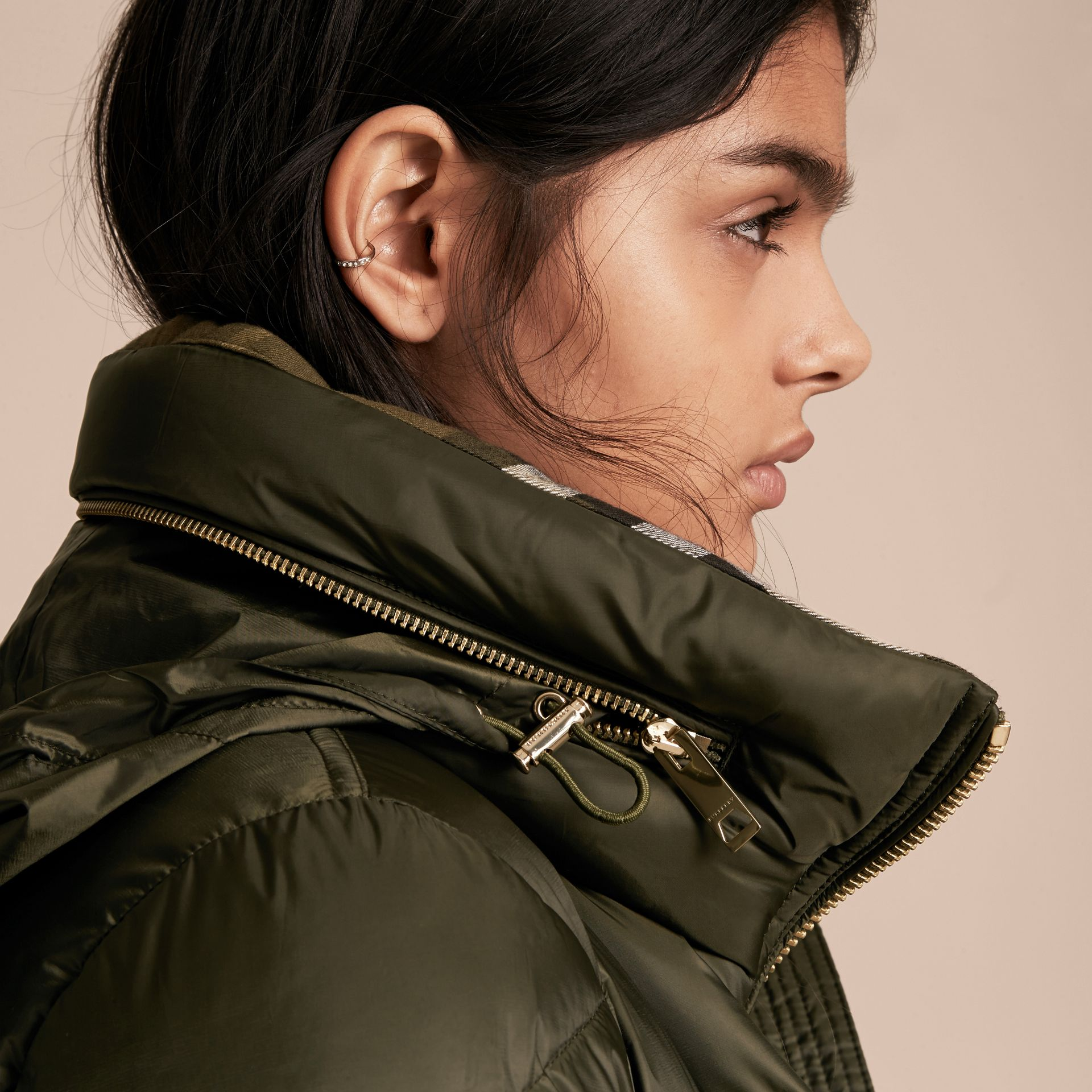 Chevron-quilted Down-filled Coat in Olive - Women | Burberry - gallery image 6