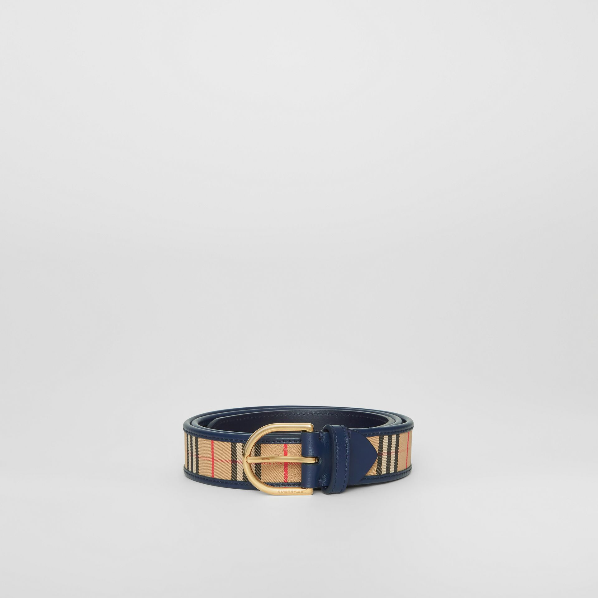 1983 Check and Leather D-ring Belt in Ink Blue - Men | Burberry Singapore - gallery image 3