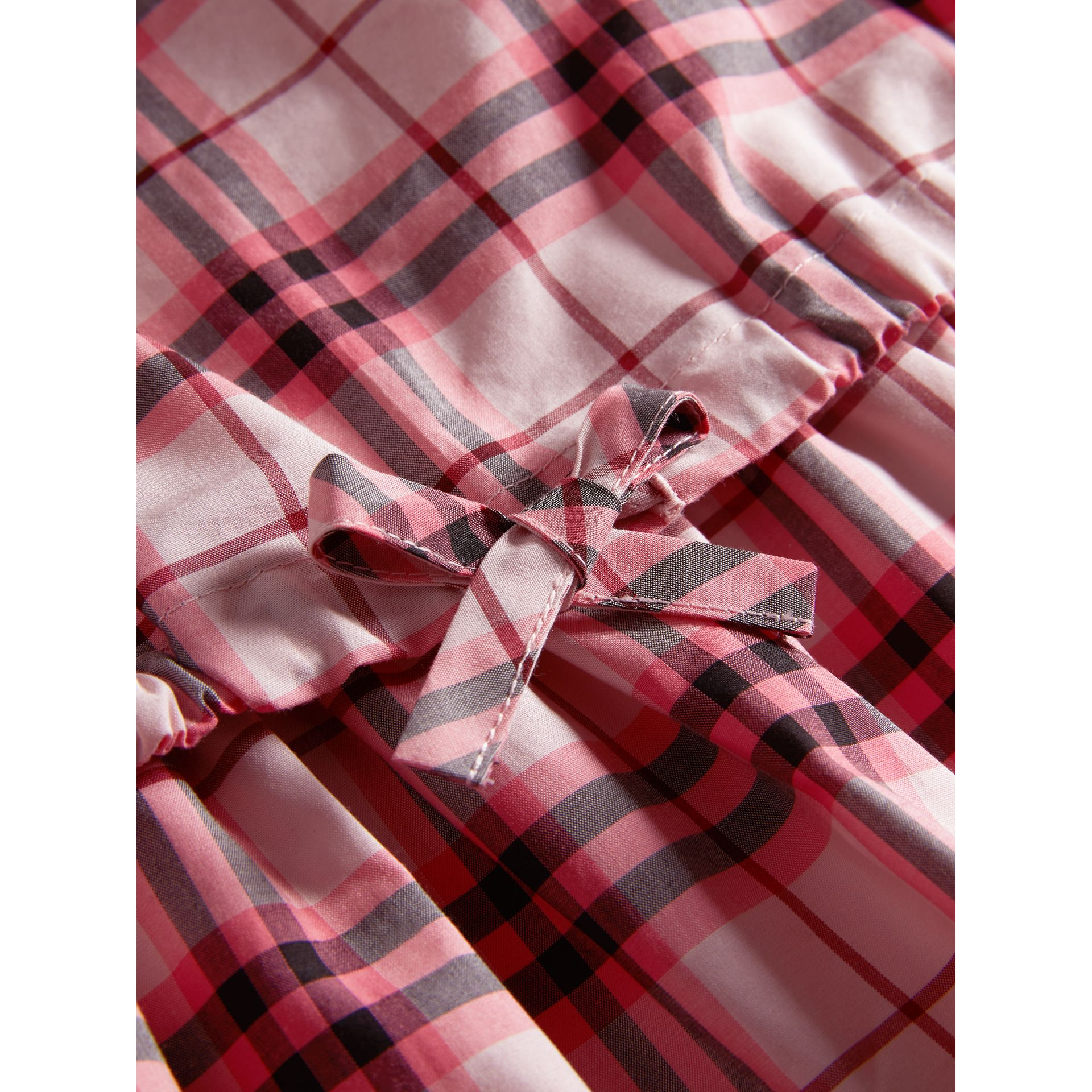 Gathered Check Cotton Dress in Bright Rose | Burberry - gallery image 1