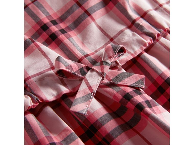 Gathered Check Cotton Dress in Bright Rose | Burberry - cell image 1