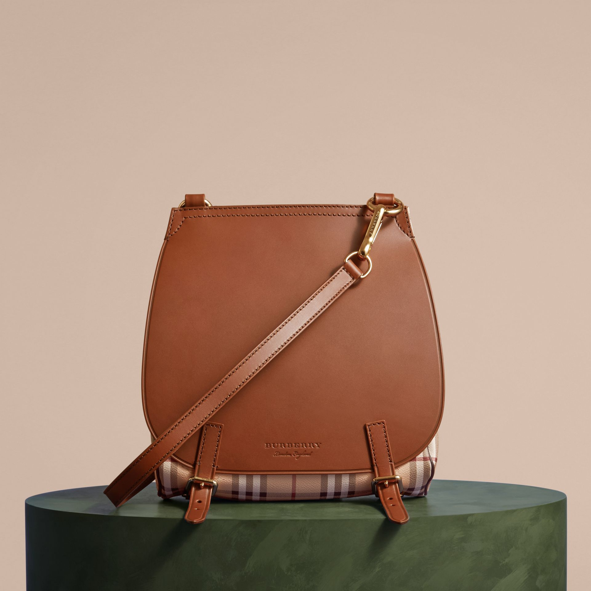 The Small Bridle Bag in Leather and Haymarket Check Tan - gallery image 8