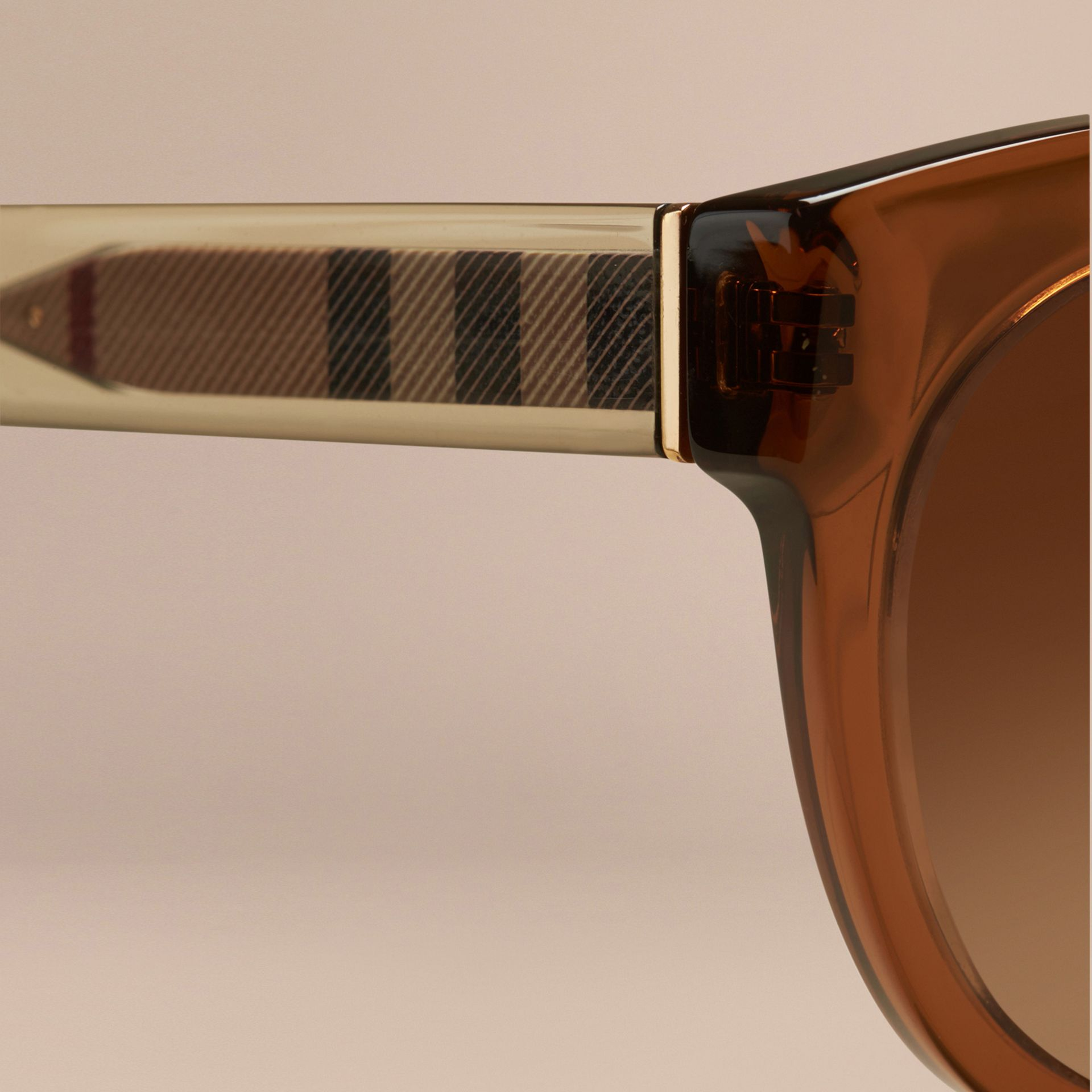Taupe brown Check Detail Oval Sunglasses Taupe Brown - gallery image 2