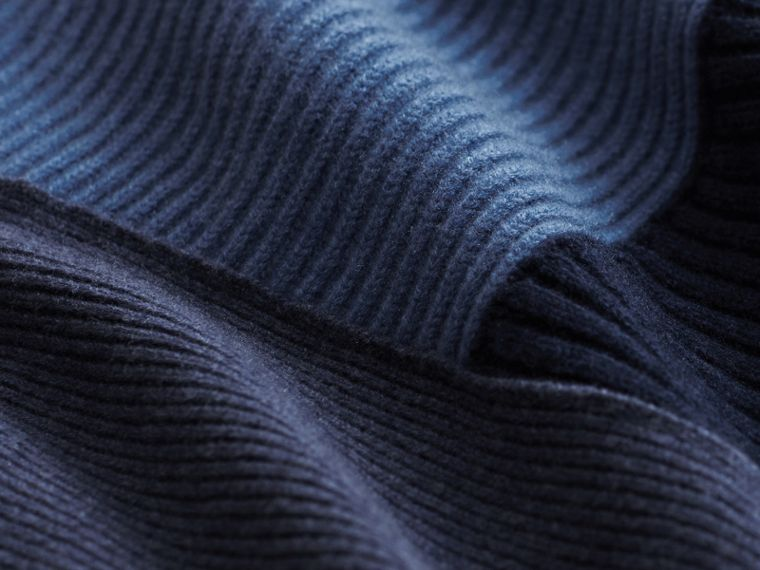 Wool Cashmere Patchwork Poncho in Carbon Blue - Women | Burberry United Kingdom - cell image 1