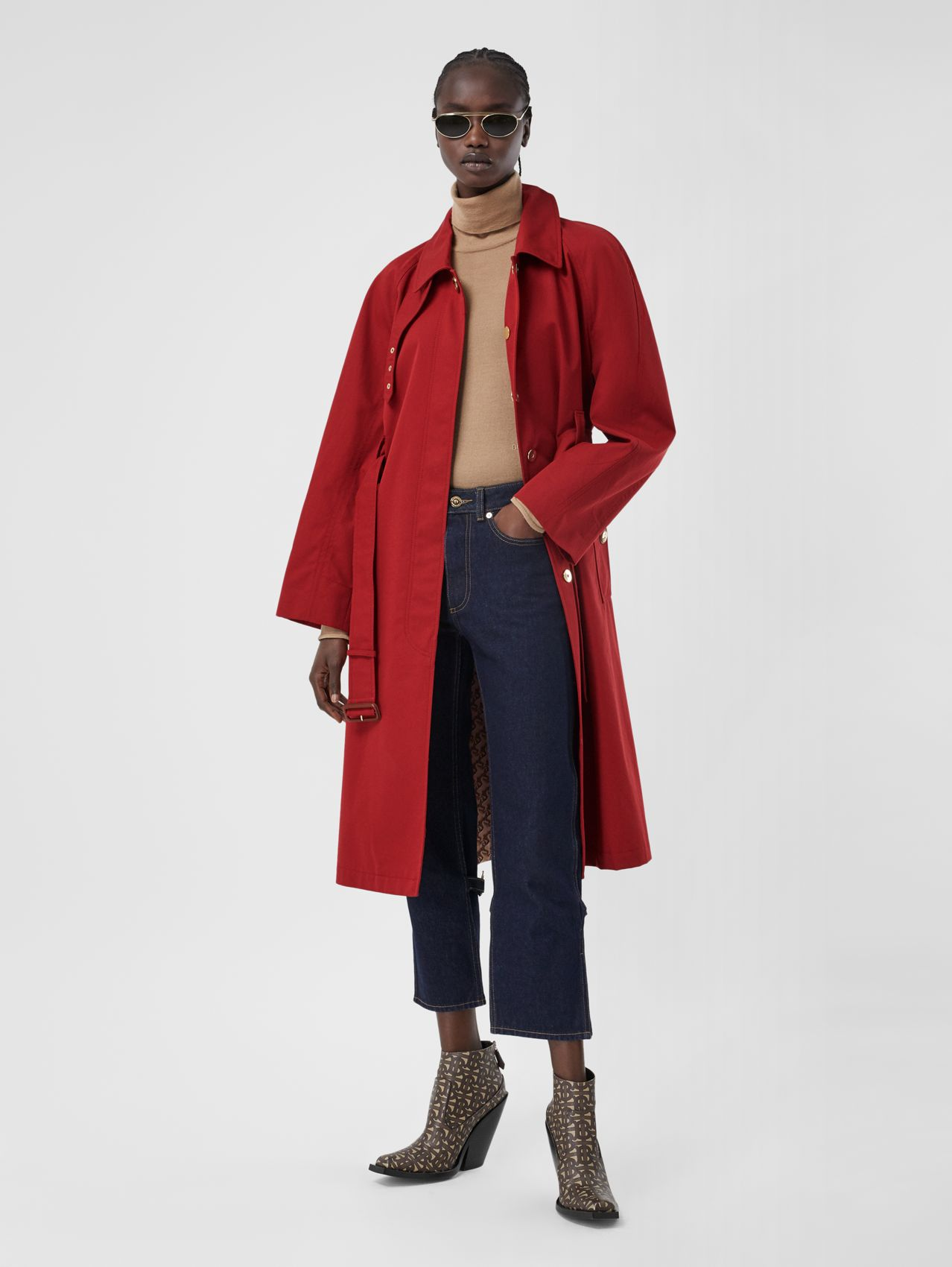 Tropical Gabardine Belted Car Coat (Dark Carmine)
