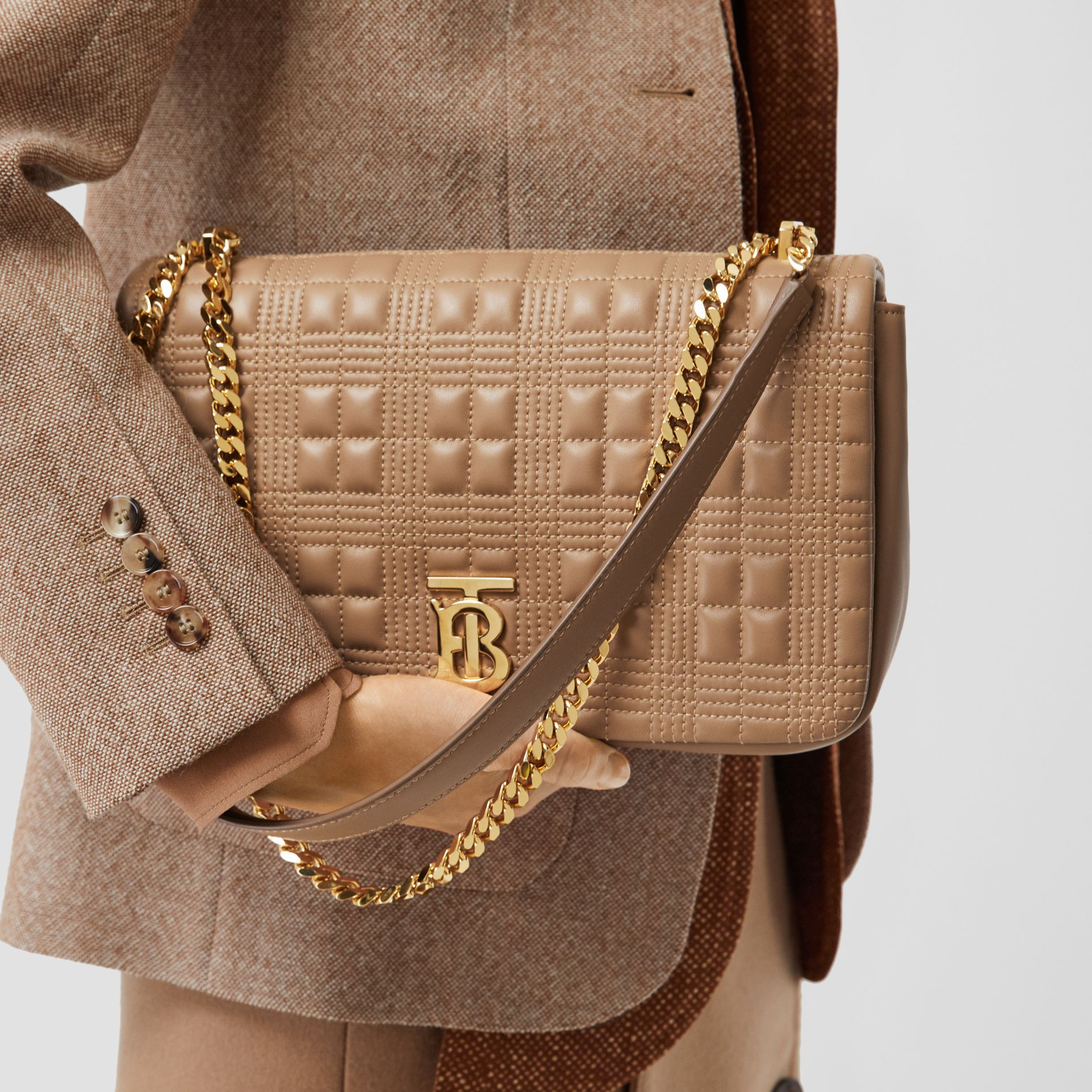Medium Quilted Check Lambskin Lola Bag in Camel - Women | Burberry - gallery image 2