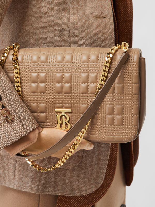 Medium Quilted Check Lambskin Lola Bag in Camel - Women | Burberry - cell image 2