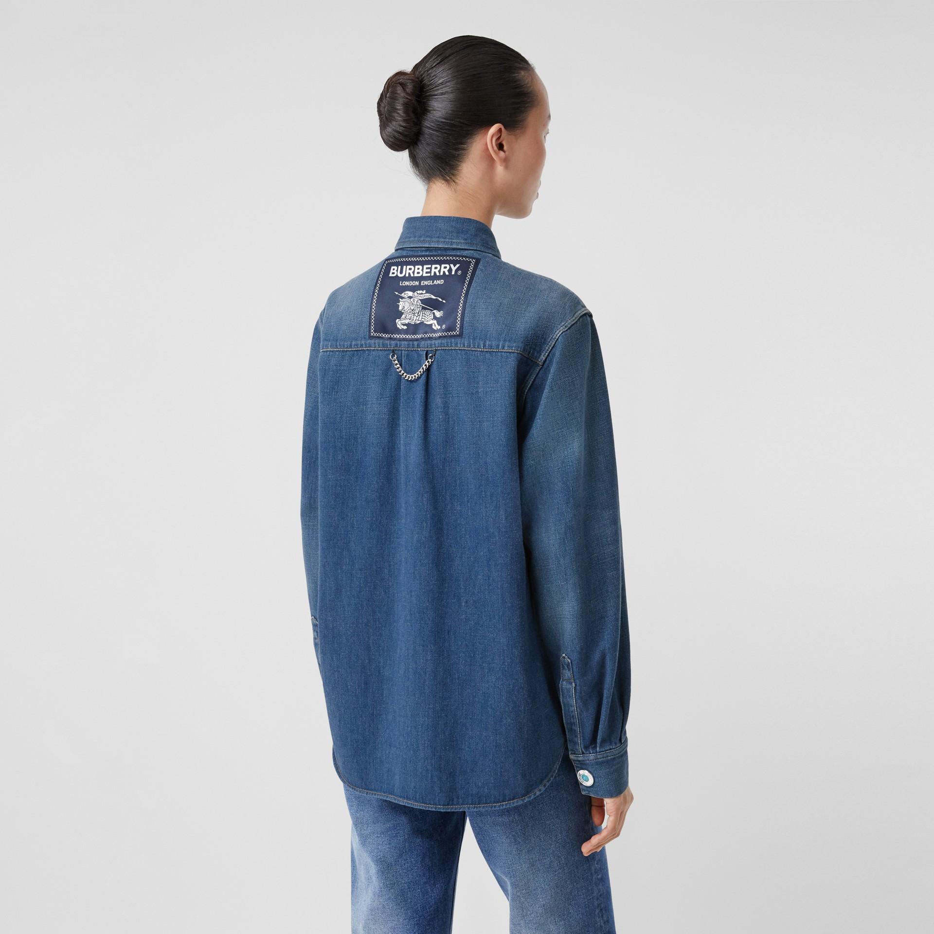Logo Appliqué Denim Shirt in Indigo - Women | Burberry - gallery image 2