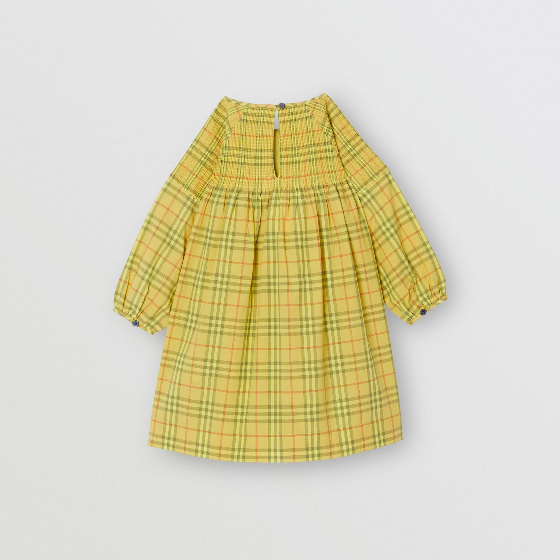 Smocked Check Cotton Dress in Citrus Yellow | Burberry - gallery image 3