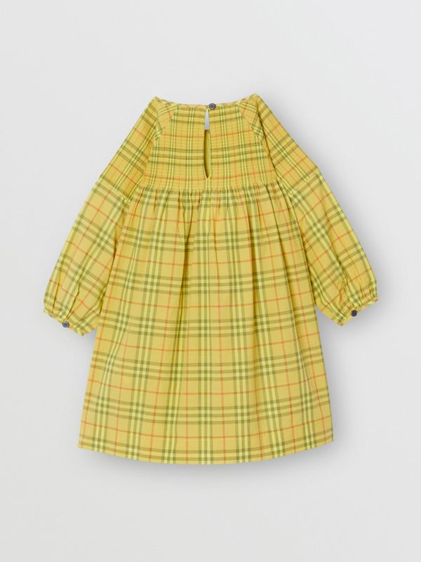 Smocked Check Cotton Dress in Citrus Yellow | Burberry - cell image 3