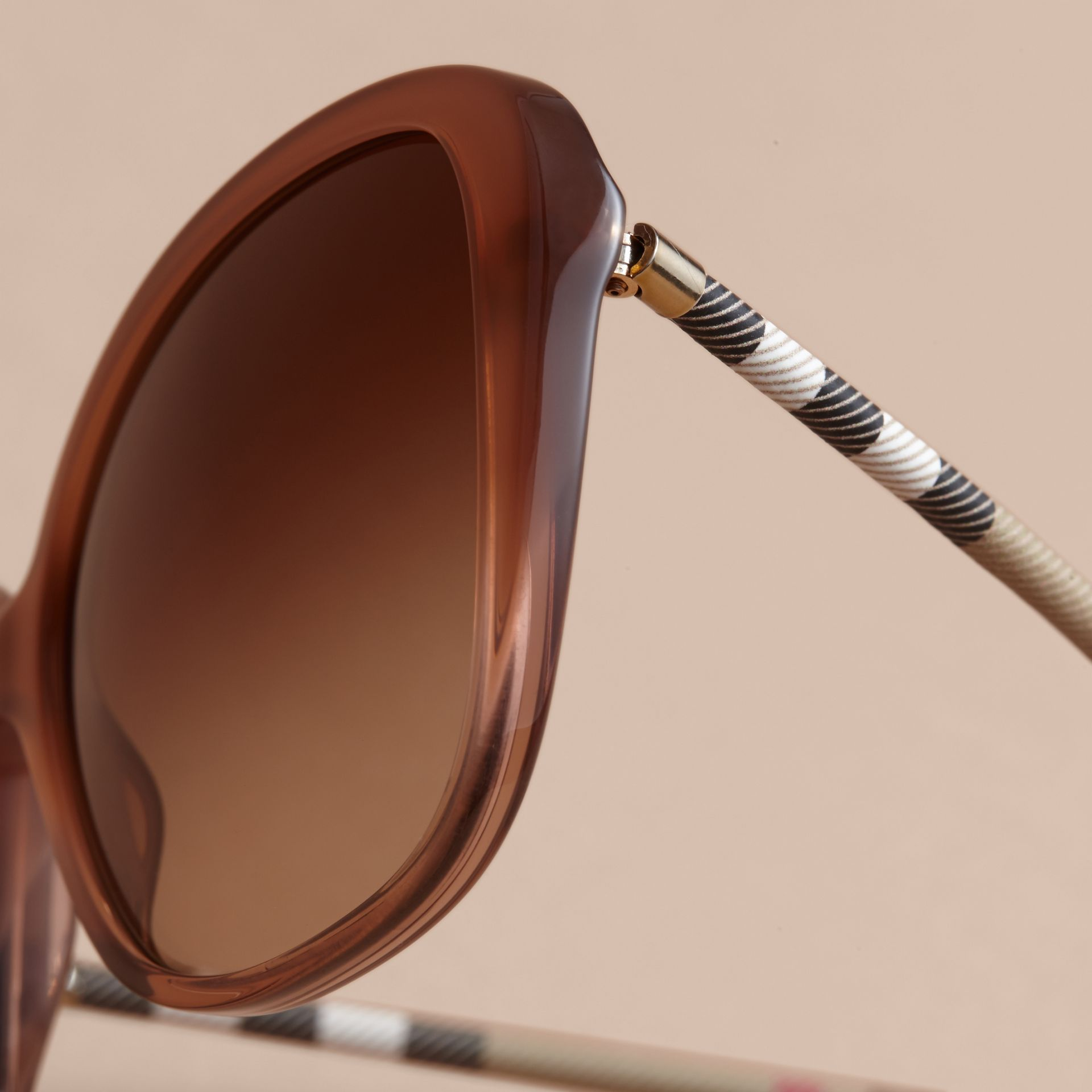 Check Detail Butterfly Frame Sunglasses Nude - gallery image 2