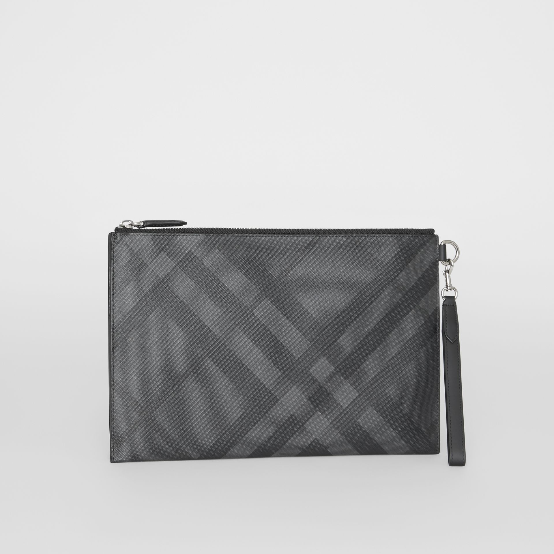 London Check Zip Pouch in Charcoal/black | Burberry Australia - gallery image 6