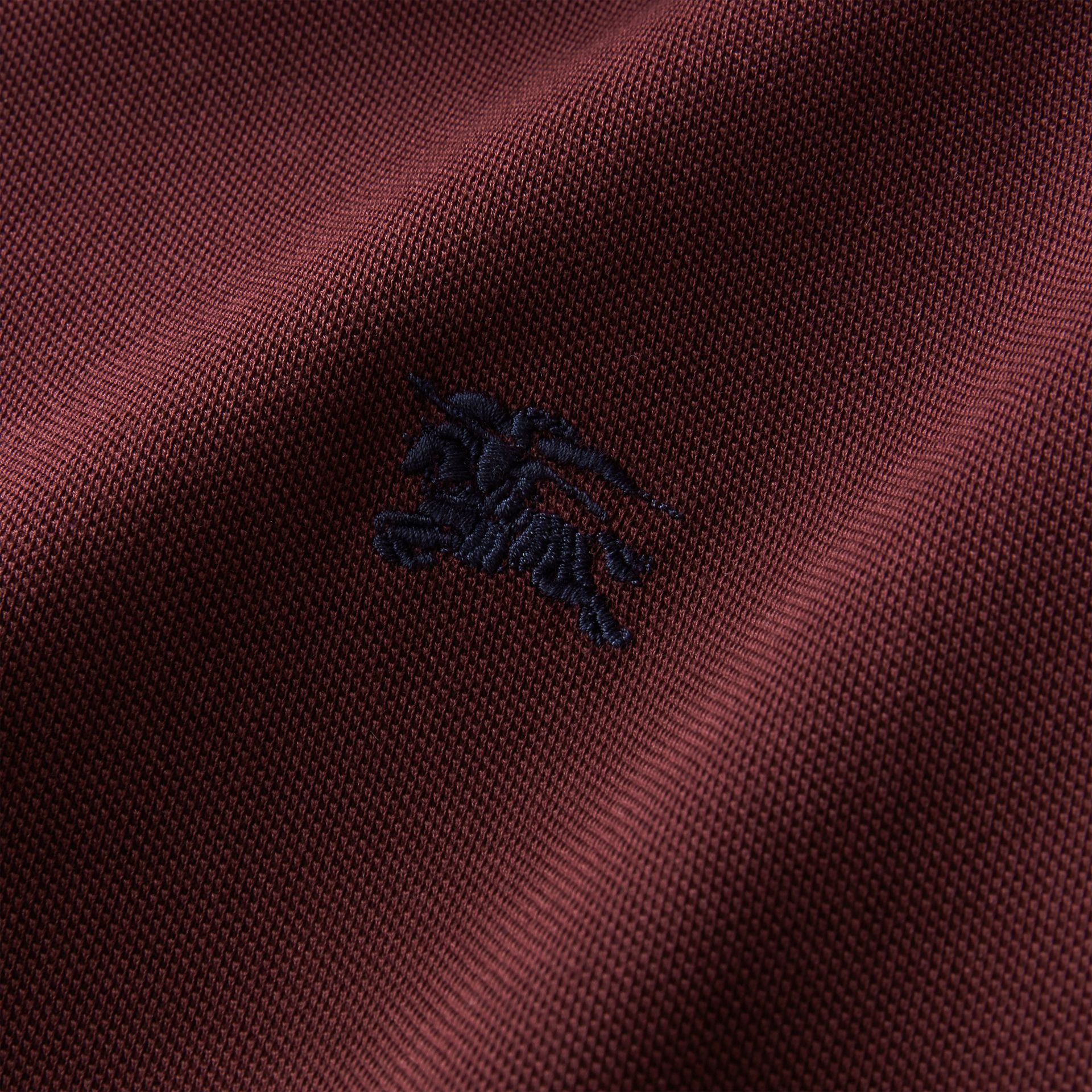 Two-tone Check Placket Cotton Piqué Polo Shirt in Deep Claret - gallery image 2