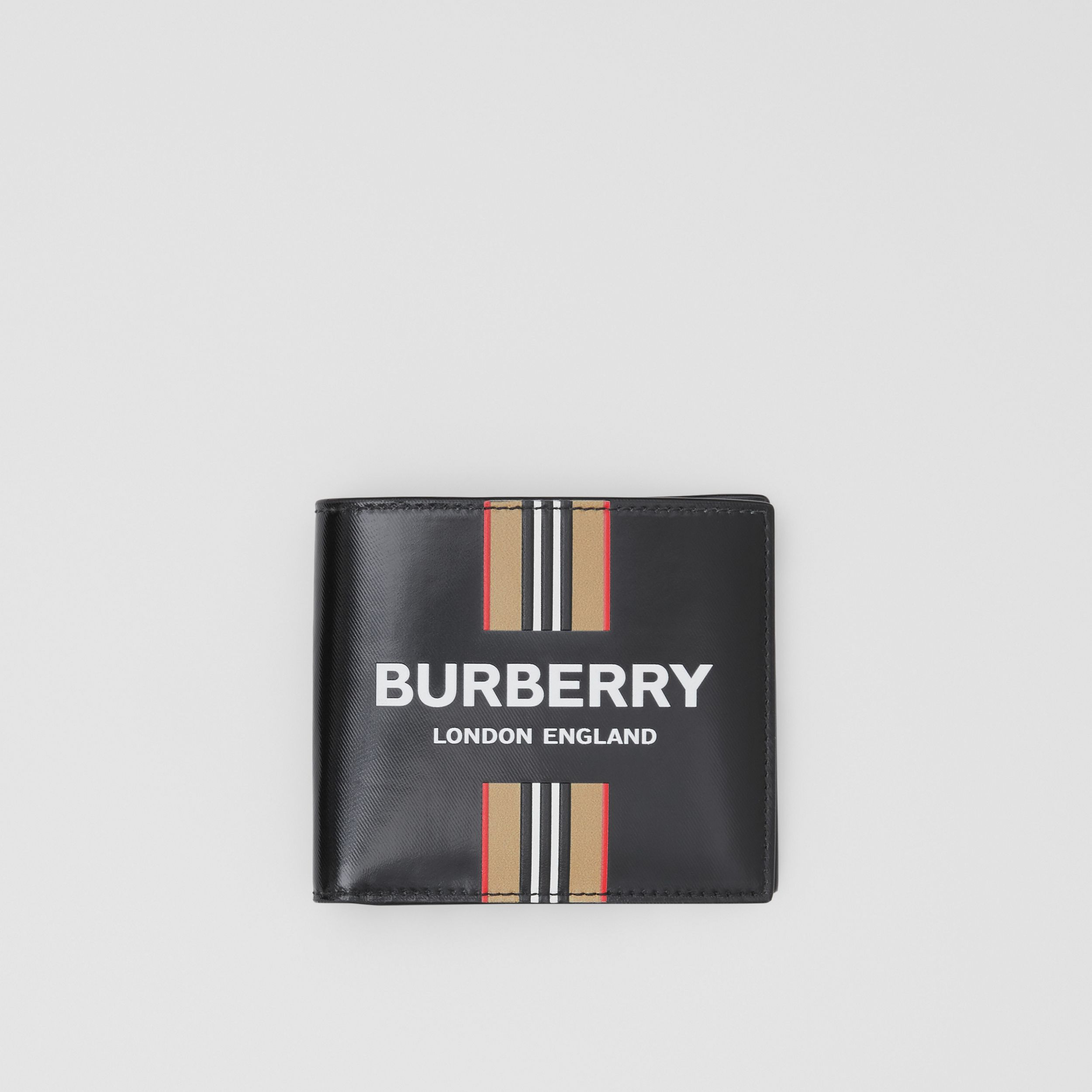 Logo and Icon Stripe Print International Bifold Wallet in Black - Men | Burberry - 1