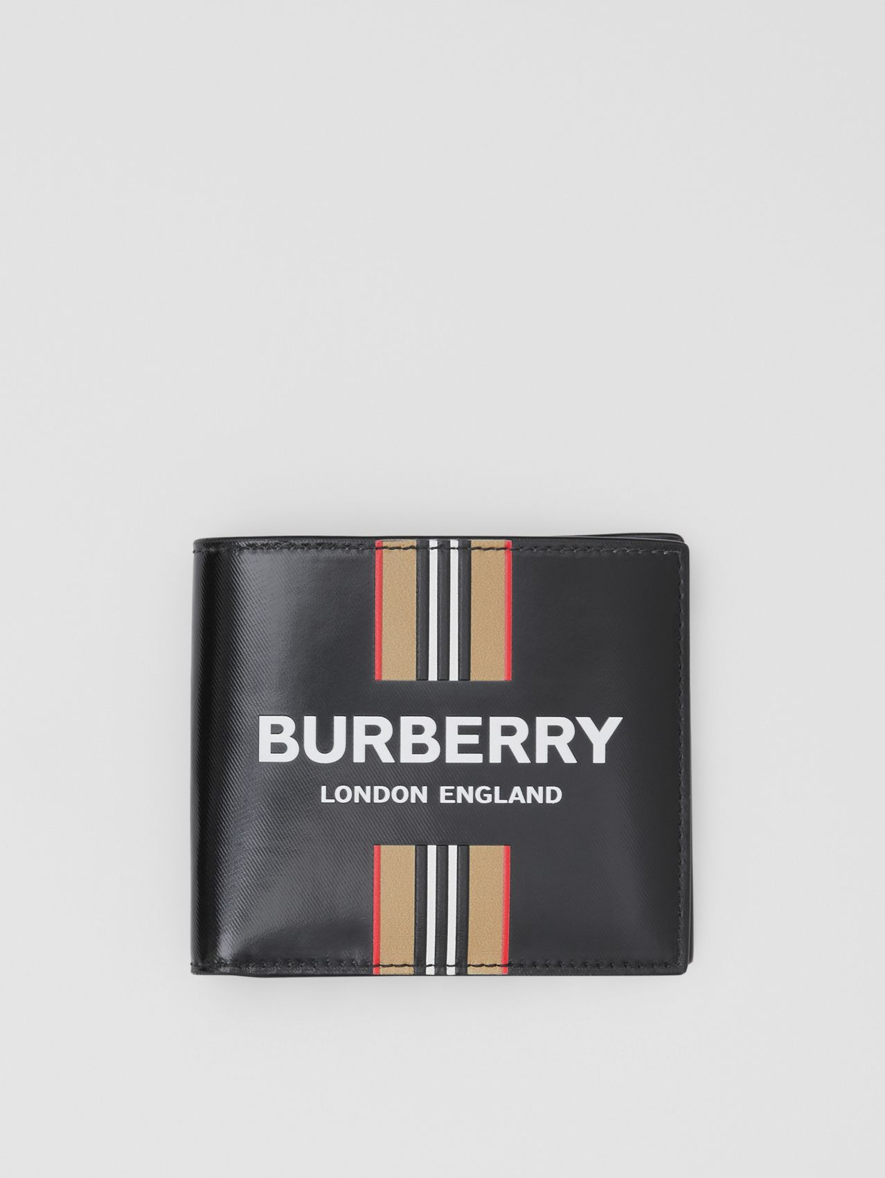 Logo and Icon Stripe Print International Bifold Wallet (Black)