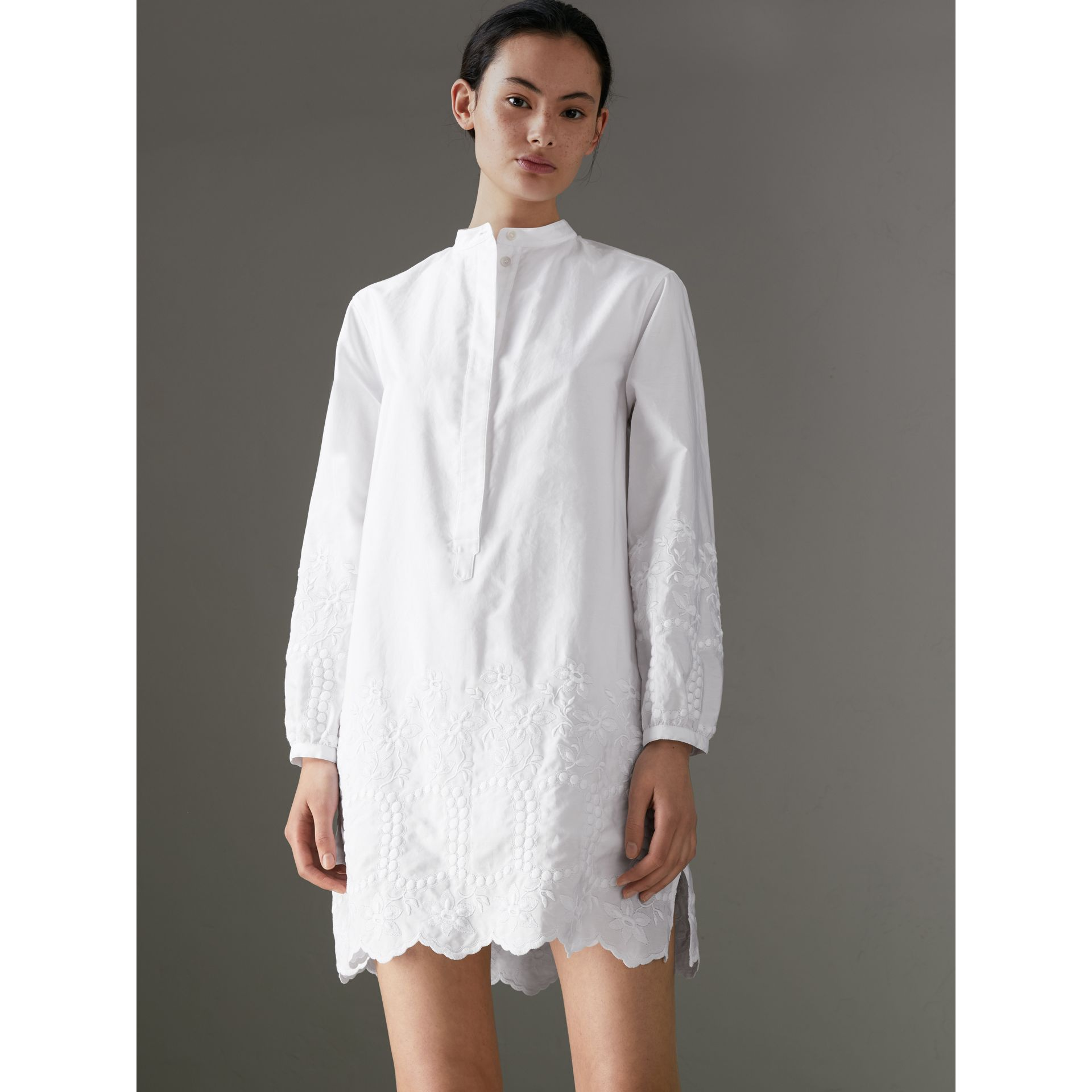 Embroidered Cotton Poplin Shirt Dress in White - Women | Burberry - gallery image 4