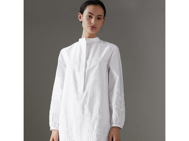 Embroidered Cotton Poplin Shirt Dress in White - Women | Burberry - cell image 4