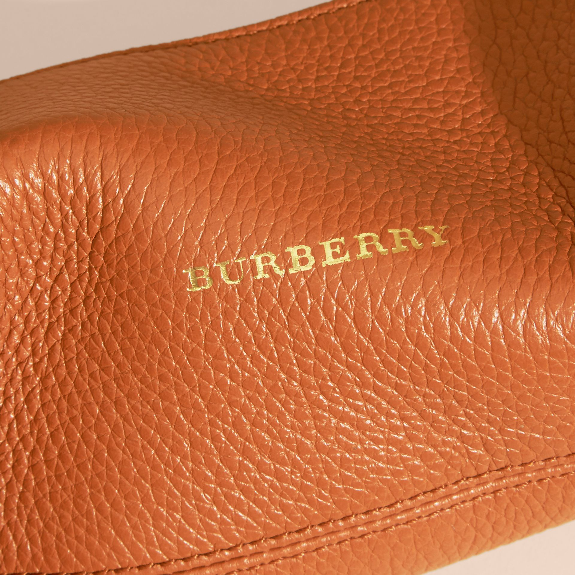 Orange umber Small Grainy Leather Digital Accessory Pouch - gallery image 2