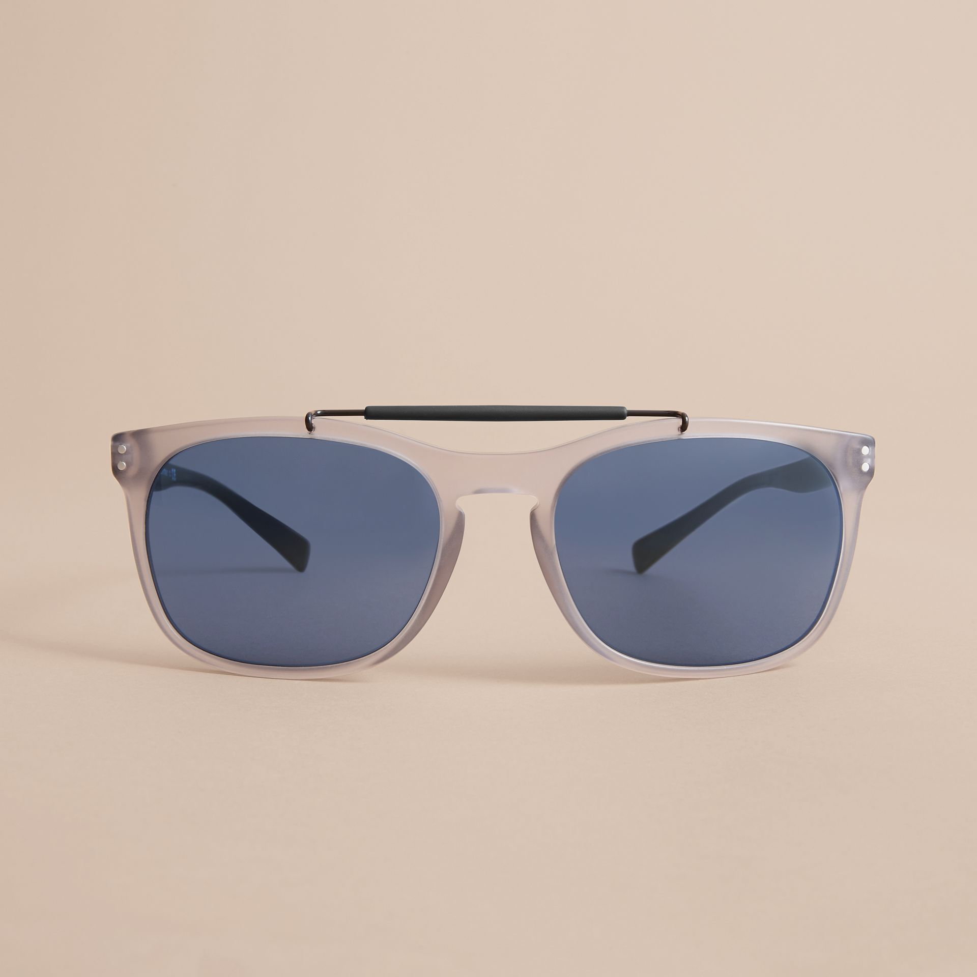 Top Bar Square Frame Sunglasses in Mineral Grey - Men | Burberry - gallery image 3