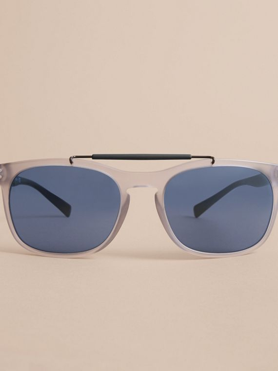 Top Bar Square Frame Sunglasses in Mineral Grey - Men | Burberry - cell image 2