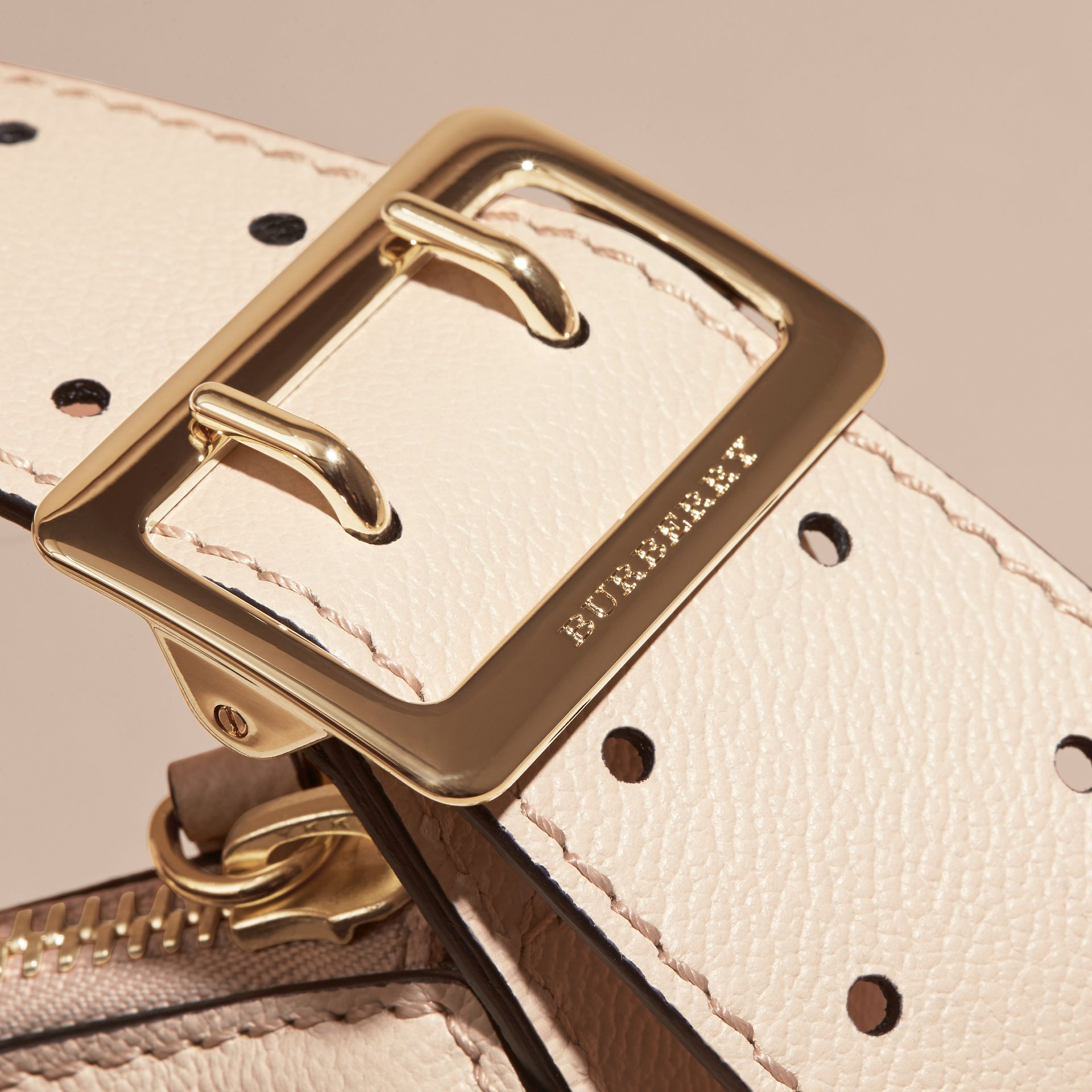 Buckle Detail Leather and House Check Crossbody Bag in Limestone - Women | Burberry - gallery image 2